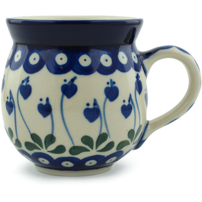 Polish Pottery Bubble Mug 12 oz Bleeding Heart Peacock