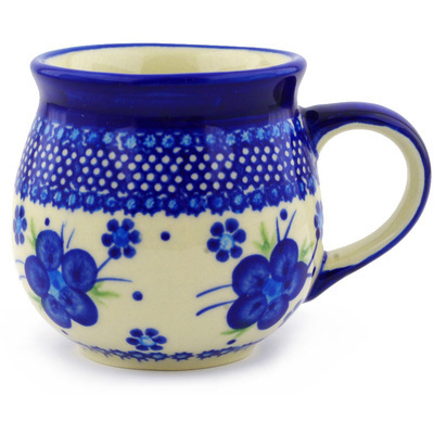 Polish Pottery Bubble Mug 12 oz Bleu-belle Fleur
