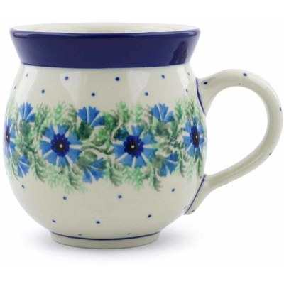 Polish Pottery Bubble Mug 12 oz Blue Bell Wreath