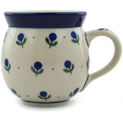 Polish Pottery Bubble Mug 12 oz Blue Buds