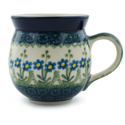 Polish Pottery Bubble Mug 12 oz Blue Daisy Circle