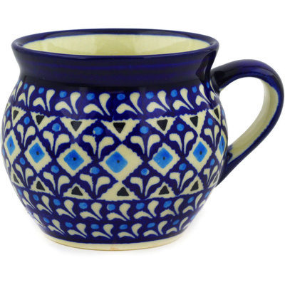 Polish Pottery Bubble Mug 12 oz Blue Diamond Dream