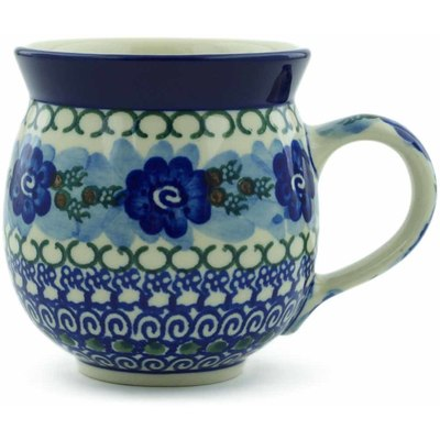 Polish Pottery Bubble Mug 12 oz Blue Pansy Circle UNIKAT