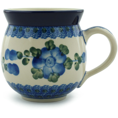 Polish Pottery Bubble Mug 12 oz Blue Poppies