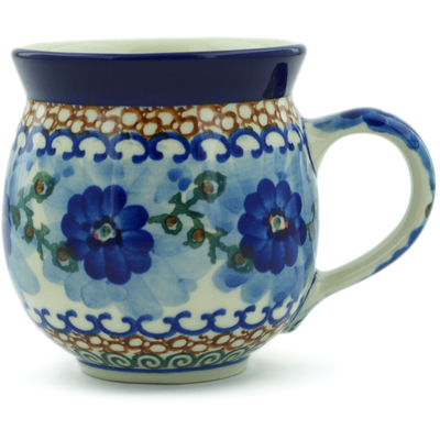 Polish Pottery Bubble Mug 12 oz Blue Poppy Circle UNIKAT