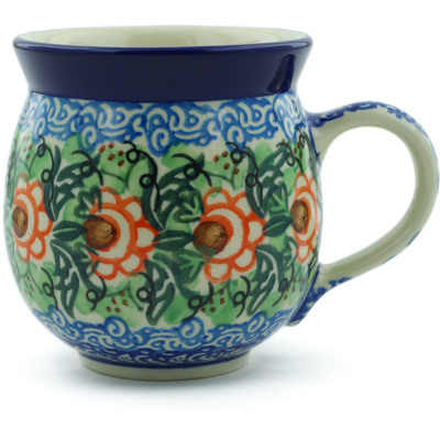 Polish Pottery Bubble Mug 12 oz Blue Waves UNIKAT