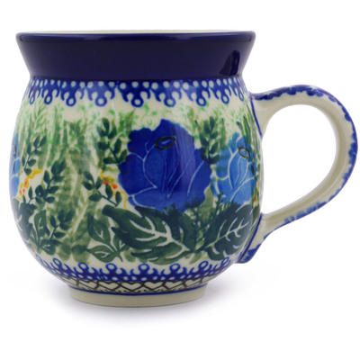 Polish Pottery Bubble Mug 12 oz Brilliant Blue Rose UNIKAT