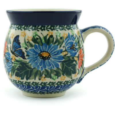 Polish Pottery Bubble Mug 12 oz Butterfly Blues UNIKAT