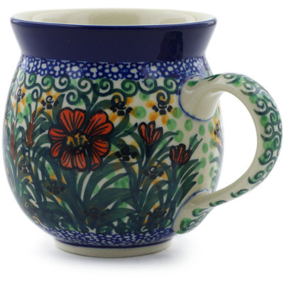 Polish Pottery Bubble Mug 12 oz Butterfly Holly UNIKAT