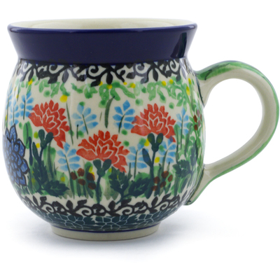 Polish Pottery Bubble Mug 12 oz Butterfly Mum UNIKAT