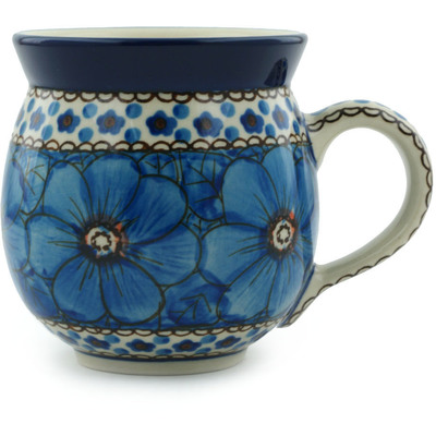 Polish Pottery Bubble Mug 12 oz Cobalt Poppies UNIKAT