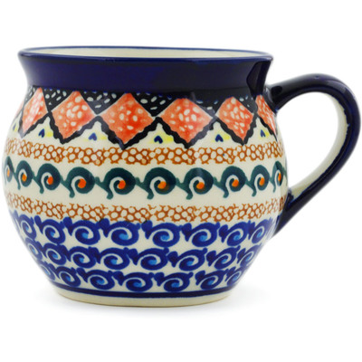 Polish Pottery Bubble Mug 12 oz Coral Diamonds UNIKAT