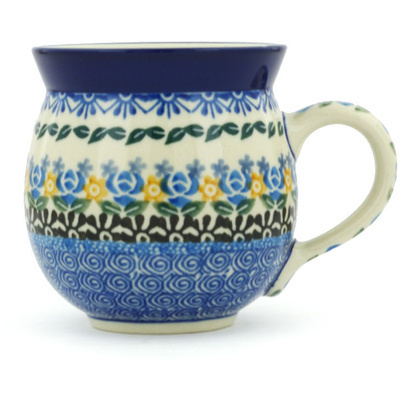 Polish Pottery Bubble Mug 12 oz Daisies And Roses UNIKAT