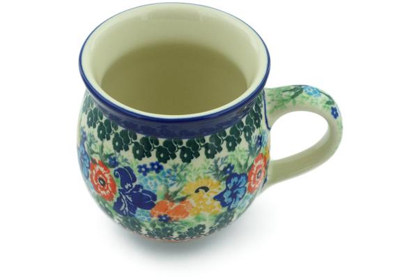 Polish Pottery Green Daisy Mug