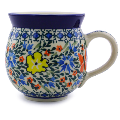Polish Pottery Bubble Mug 12 oz Daylight Garden UNIKAT