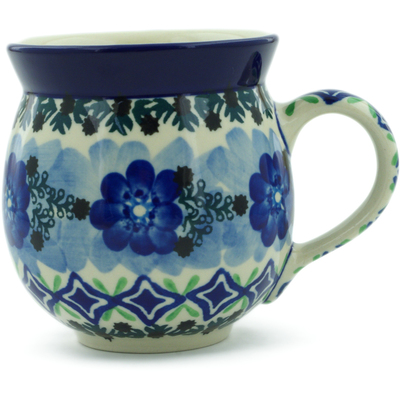 Polish Pottery Bubble Mug 12 oz Diamond Poppies UNIKAT