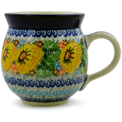 Polish Pottery Bubble Mug 12 oz Enchanted Spring UNIKAT