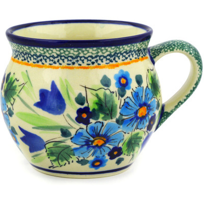 Polish Pottery Bubble Mug 12 oz Evangeline UNIKAT