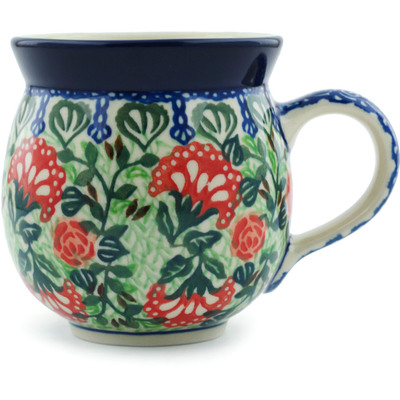 Polish Pottery Bubble Mug 12 oz Fancy Fanfare UNIKAT