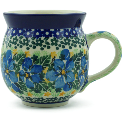 Polish Pottery Bubble Mug 12 oz Floral Blue Dreams UNIKAT