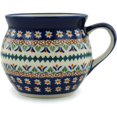 Polish Pottery Bubble Mug 12 oz Floral Peacock UNIKAT