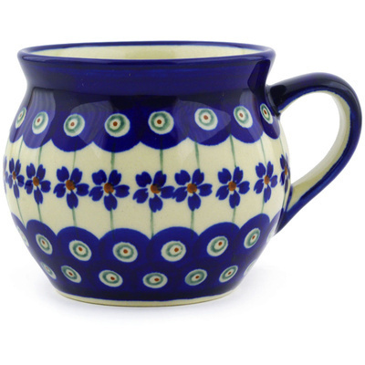Polish Pottery Bubble Mug 12 oz Flowering Peacock