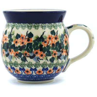 Polish Pottery Bubble Mug 12 oz Forget Me Not Medley UNIKAT