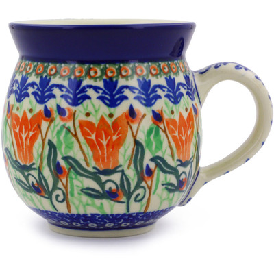 Polish Pottery Bubble Mug 12 oz Gentian Wreath UNIKAT