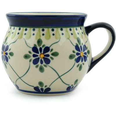 Polish Pottery Bubble Mug 12 oz Gingham Trellis
