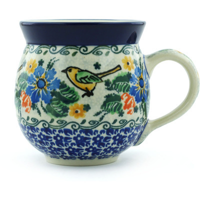 Polish Pottery Bubble Mug 12 oz Green Bird Garden UNIKAT