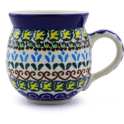 Polish Pottery Bubble Mug 12 oz Heart Vines UNIKAT