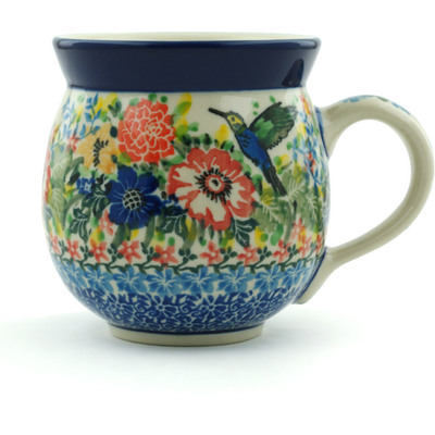 Polish Pottery Bubble Mug 12 oz Hummingbird Meadow UNIKAT