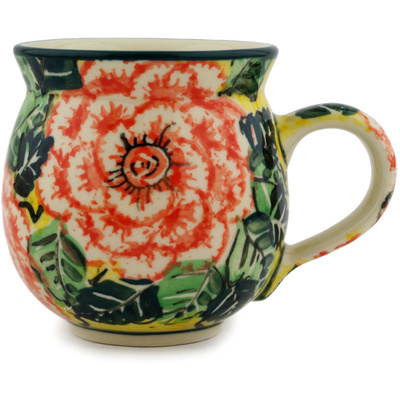 Polish Pottery Bubble Mug 12 oz Orange Peonies UNIKAT