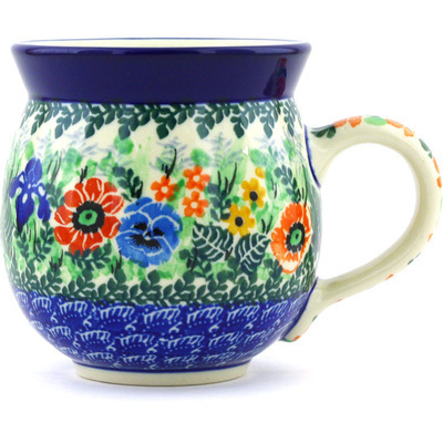 Polish Pottery Bubble Mug 12 oz Pansy Iris Bouquet UNIKAT