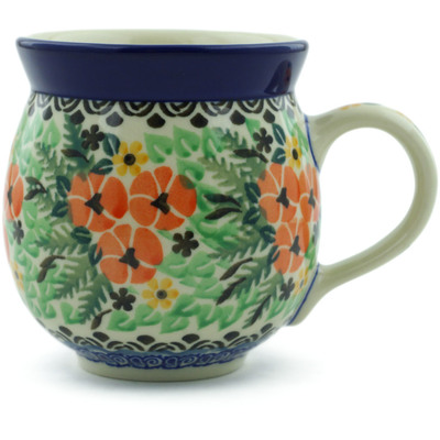 Polish Pottery Bubble Mug 12 oz Pansy Patch UNIKAT