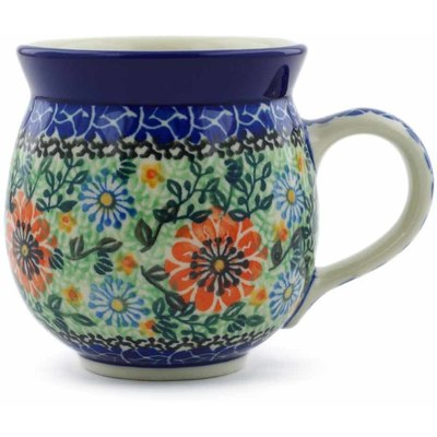 Polish Pottery Bubble Mug 12 oz Peach Daisies UNIKAT