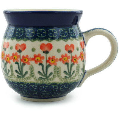 Polish Pottery Bubble Mug 12 oz Peach Spring Daisy