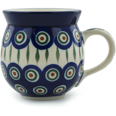 Polish Pottery Bubble Mug 12 oz Peacock Leaves