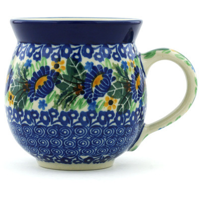 Polish Pottery Bubble Mug 12 oz Peeking Blooms UNIKAT