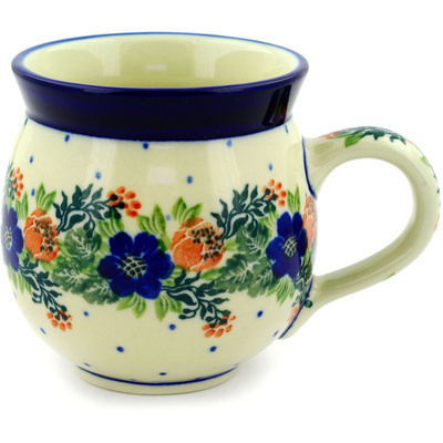 Polish Pottery Bubble Mug 12 oz Polish Wreath