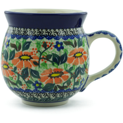 Polish Pottery Bubble Mug 12 oz Poppy Fields UNIKAT