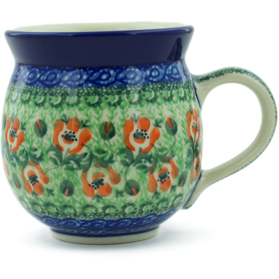 Polish Pottery Bubble Mug 12 oz Red Rose Buds UNIKAT
