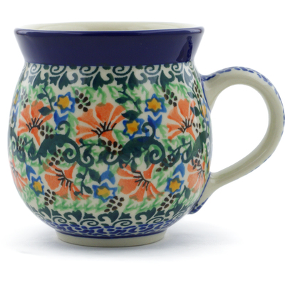 Polish Pottery Bubble Mug 12 oz Red Scaveola Garden UNIKAT