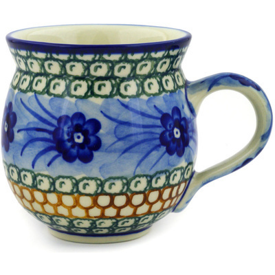 Polish Pottery Bubble Mug 12 oz Ring Of Poppies UNIKAT