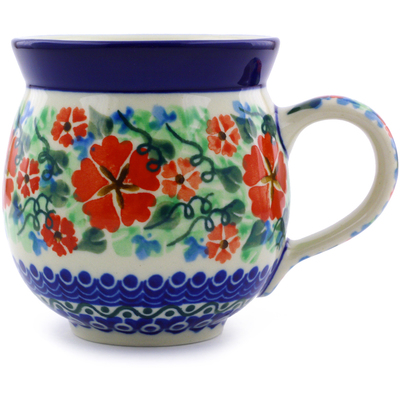 Polish Pottery Bubble Mug 12 oz Sand Dollar Flowers UNIKAT