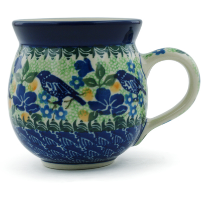 Polish Pottery Bubble Mug 12 oz Sitting Blue Birds UNIKAT