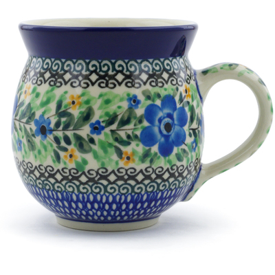 Polish Pottery Bubble Mug 12 oz Sky Blue Poppy UNIKAT