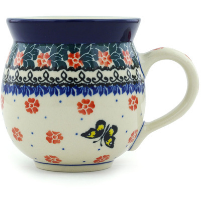 Polish Pottery Bubble Mug 12 oz Spring Butterfly