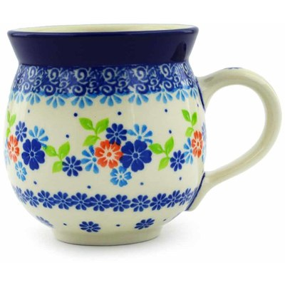Polish Pottery Bubble Mug 12 oz Spring Flower Wreath
