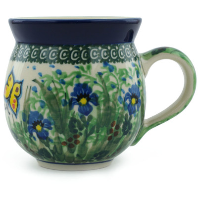 Polish Pottery Bubble Mug 12 oz Spring Garden UNIKAT
